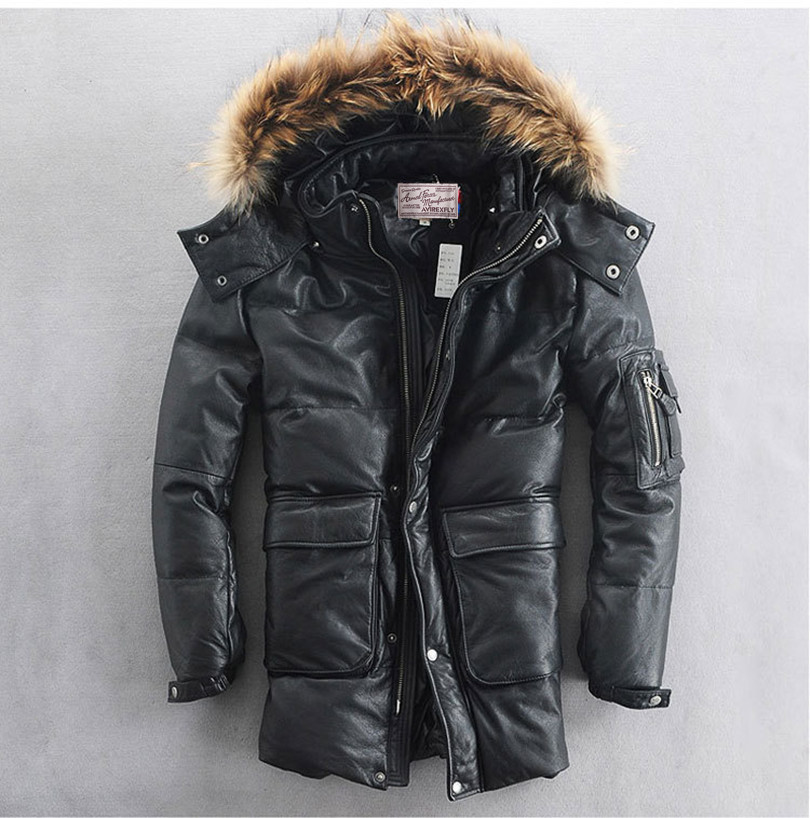 Avirex-fly leather jacket real fur hooded white duck down black cowskin winter coat for men two patch pockets