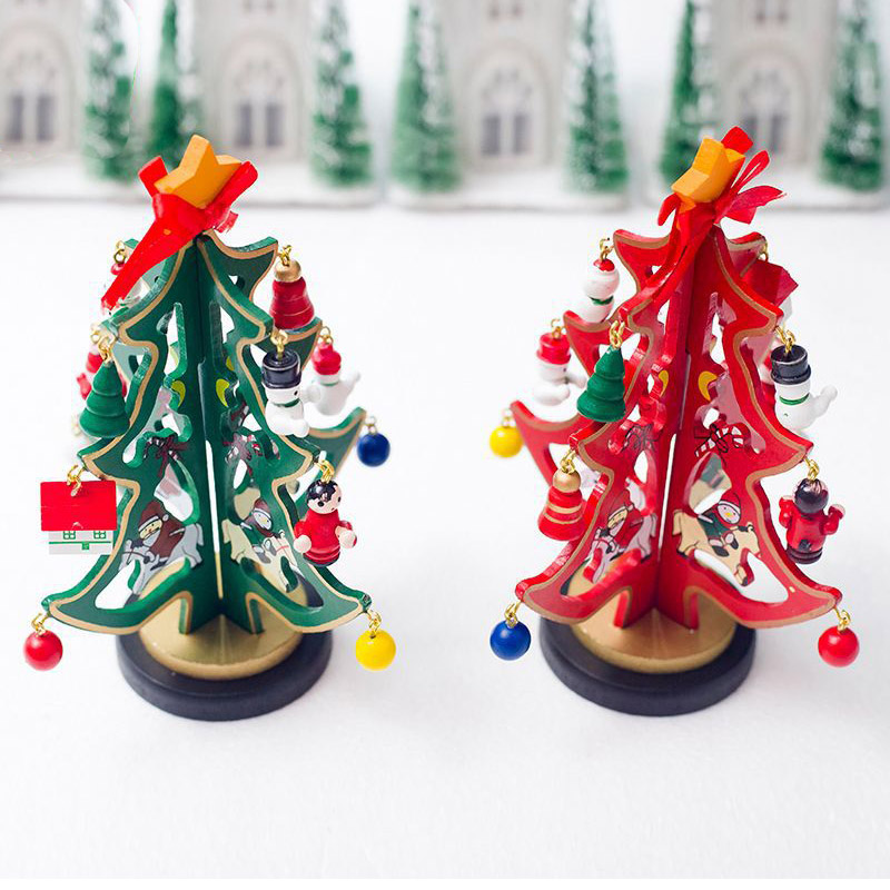 christmas decorations Artificial Wooden Christmas Tree Toys with Mini Pendant Accessories Xmas Party New Year Gifts Decoration in Trees from Home Garden