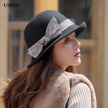 USPOP 2019 New women wool fedoras Autumn winter thick hats plaid bow crimping hat