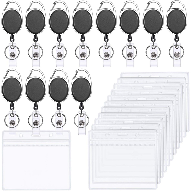 12 Sets Of Retractable Badge ID Card Holders With Carabiner Roll Holders And Transparent Horizontal Name Tag Badge Holders