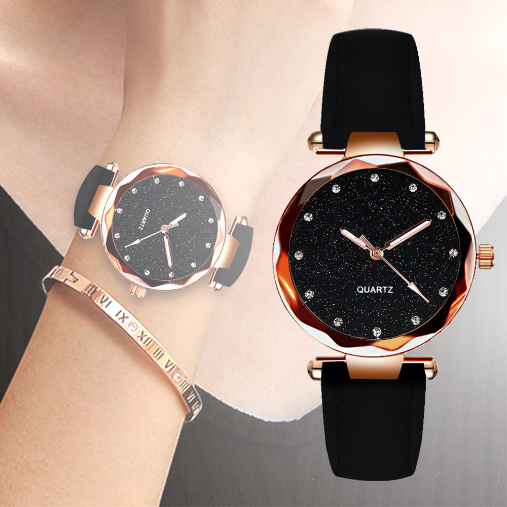 Starry Sky Watches For Women Irregular Analog Quartz Wristwatches Ladies Party Dress Clock Casual Dial Leather Strap 2019 NEW@50