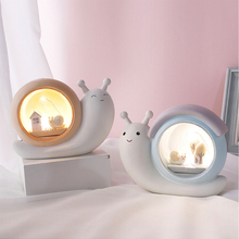 LED Cartoon Snail Button Battery Night Light Piggy Bank Resin Decoration Bedroom Baby Kindergarten Fairy Christmas Birthday Gift