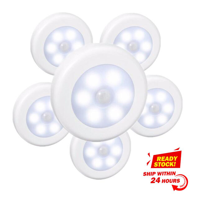 SOLLED LED Infrared PIR Motion Sensor Battery Powered 6 led Night lights Wireless Detector Lamps for Closet Cabinet