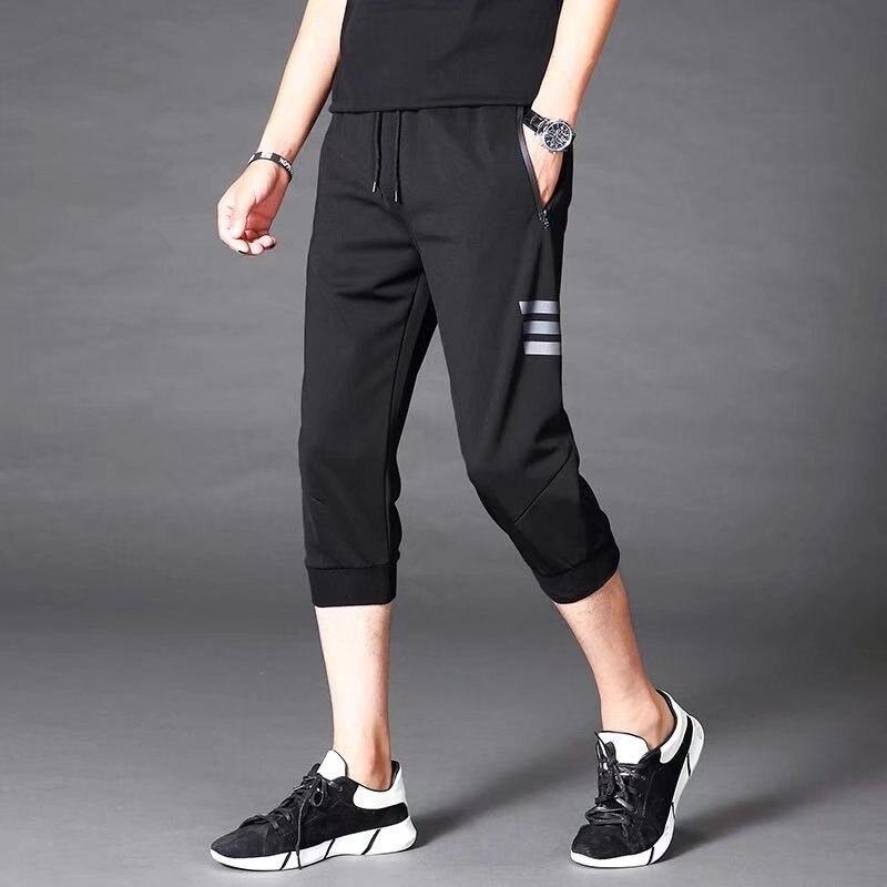2018 Men's Trousers Sports Capri Pants Men's Korean-style Skinny Knit Pants Men Beam Leg Closing Capris Casual Shorts