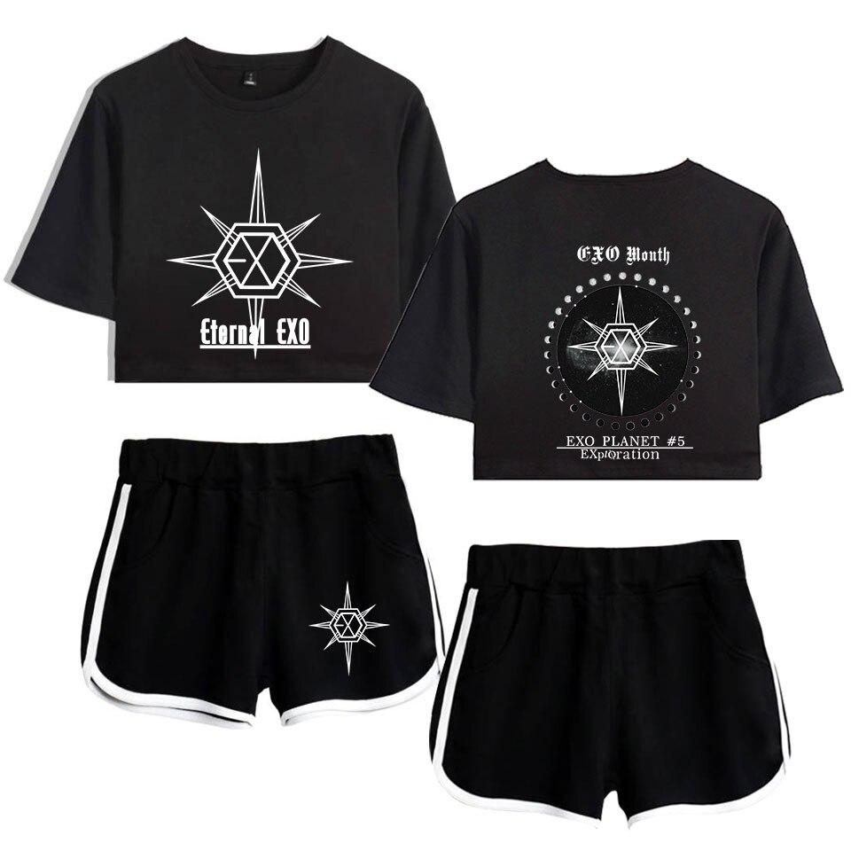 EXO PLANET-#5-EXplOration Two Piece Set Top Shorts Suit Sexy Outfit Short Sleeve Bodycon Sport Suit Femme Kpop Tracksuit