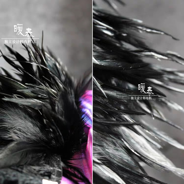 50x 10cm Black Chicken Feather Art Modeling Auxiliary Material Designer Clothing Fabric Creative Fabric Fashion Dress DIY