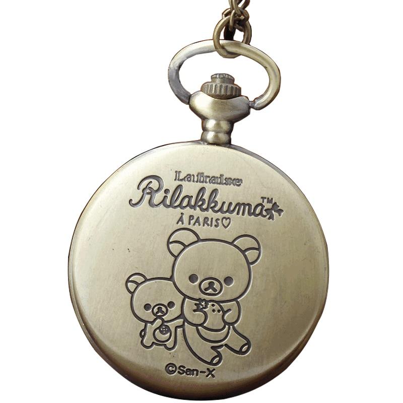 Cute Bear Rilakkuma Paris Strawberry Design Vintage Men Women's Watches Hollow Exquisite Quartz Pocket Watch Gift Chain Necklace
