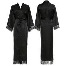 YUXINBRIDAL 2019 New 11 Colors Silk Satin Lace Robes  Bridesmaid Bride Wedding Long Robe Bathrobe Womens Black