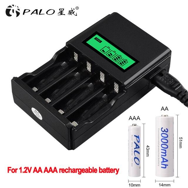 פאלו 1.2V 4 חריצים AA AAA NIMH nicd סוללה טעינה מהירה מטען LCD תצוגה עבור AA AAA סוללה נטענת מהיר חכם מטען
