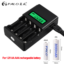 PALO 1.2V 4 slots AA AAA NIMH nicd quick charge battery charger LCD display for AA AAA rechargeable battery fast smart charger