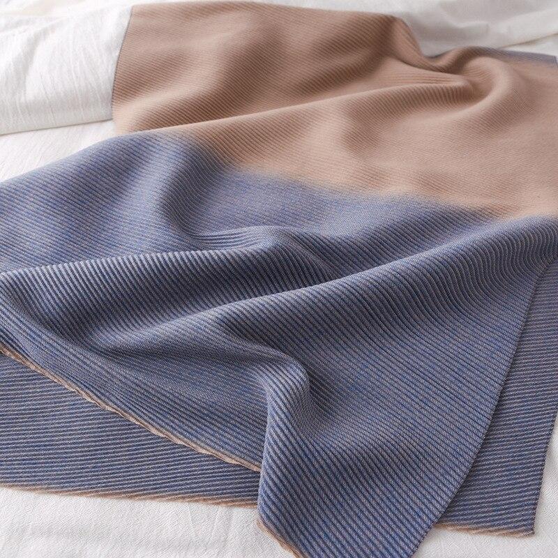 Image 5 - ファッション冬のカシミヤスカーフ女性のためのクリンクルヒジャーブ暖かいパシュミナスカーフ無地ネッカチーフショールとラップ女性のスカーフレディース スカーフ   -