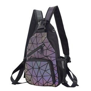 Image 4 - 2021 männer Multifunktionale Rucksack Frauen Geometrische Rucksack Mit Kopfhörer Loch Schule Tasche Unisex Leucht Crossbody Schulter Tasche