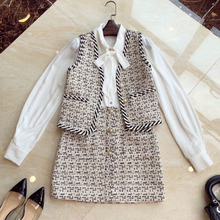 Tweed Jacket Vest Skirt-Set Korean Coat Outfits Shirt Autumn White Mini Fashion-Designer