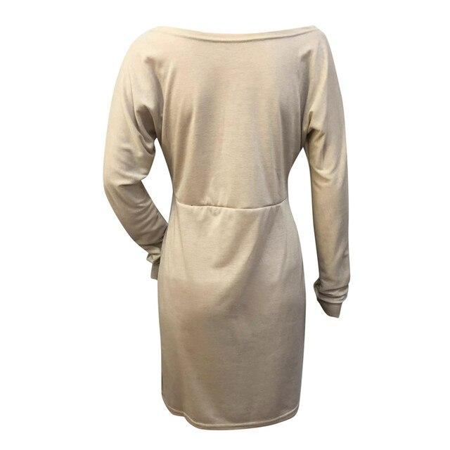 45#Beach Dress Women Winter One Shoulder Sweatshirt Long Sleeve Solid Color Mini Women's Dresses Holiday Party Nihgt Dress 5