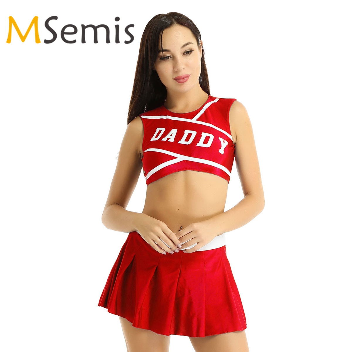 Women's Charming Cheerleader Cosplay Costume Round Neck Crop Top With Mini Pleated Skirt Cheerleader Dancewear Sports Uniform