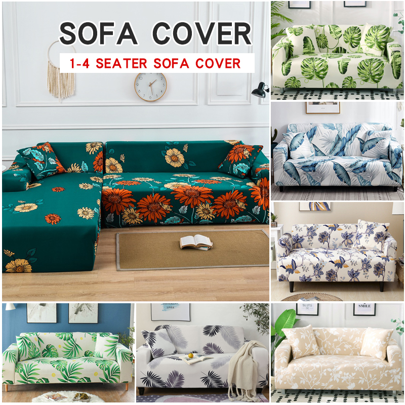 Stretch Floral Printing Sofa Cover Elastic Furniture Protector Slipcovers Couch Cover 1/2/3/4-seater Sofa Covers For Living Room