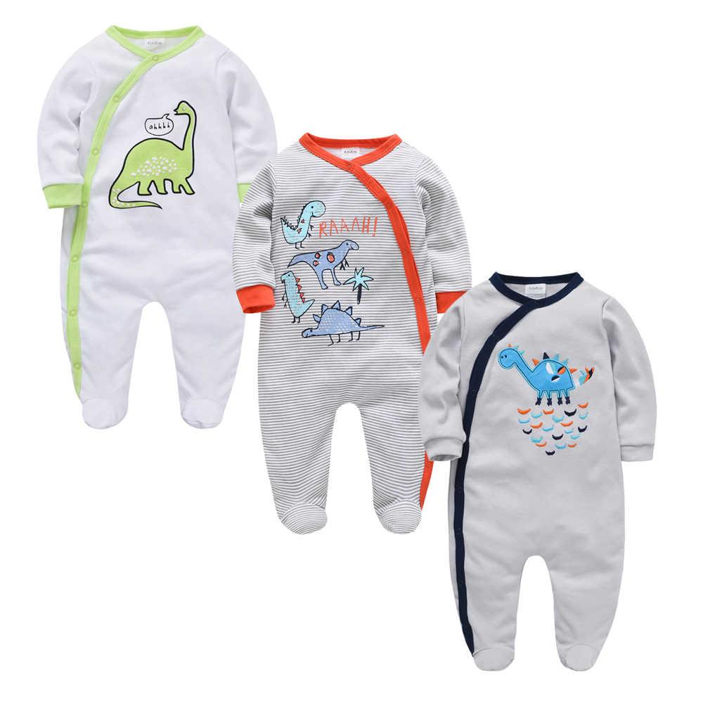 Kavkas 3 개/몫 아기 소녀 소년 의류 공룡 인쇄 여름 면화 Jumpsuit 신생아 Rompers 0-3 m 긴 소매 의류