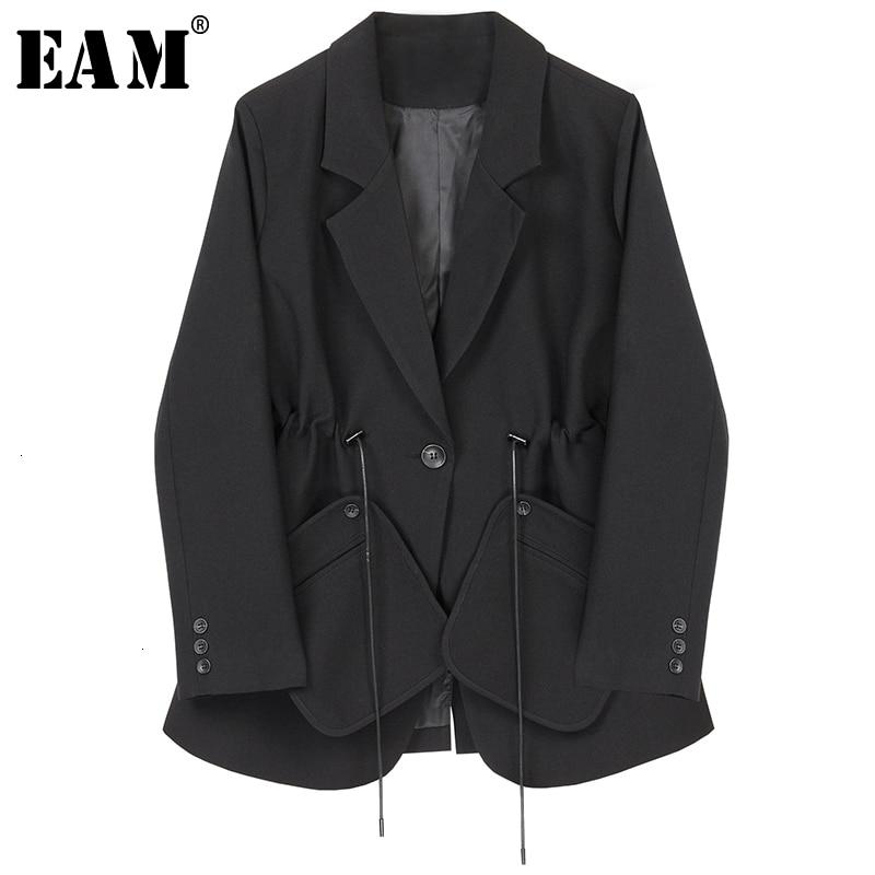 [EAM]  Women Black Drawstring Temperament Blazer New Lapel Long Sleeve Loose Fit  Jacket Fashion Tide Spring Autumn 2020 1H792