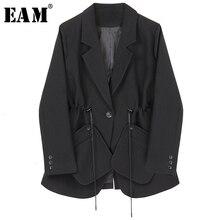 [EAM]  Women Black Drawstring Temperament Blazer New Lapel Long Sleeve Loose Fit  Jacket Fashion Tide Spring Autumn 2021 1H792