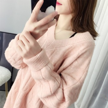 Ailegogo 2019 Sweater V-Neck Women Fashion Autumn Knitwear Solid Loose Sexy Pullovers Coat Female Blouse Knit Outwear Tops 2