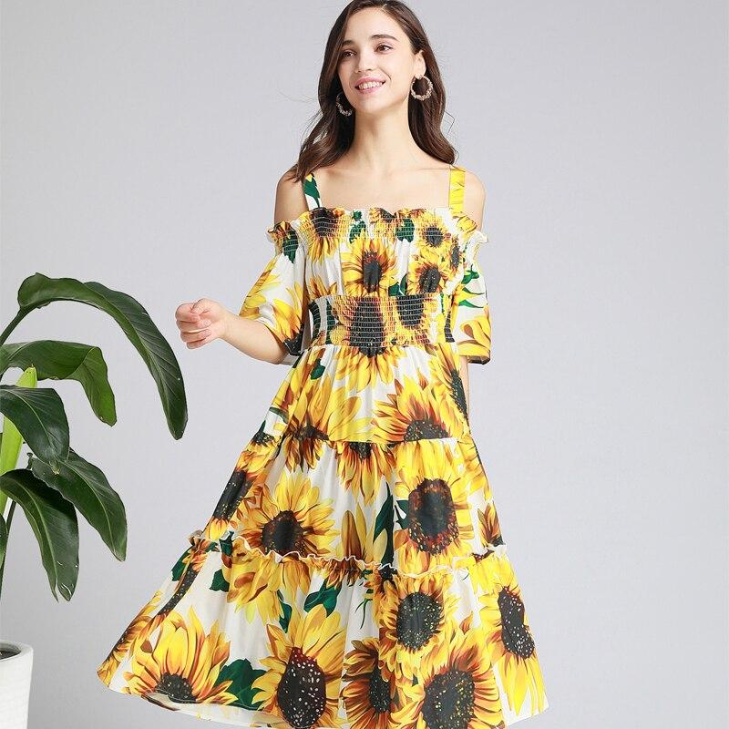 Robes de verano 2019 moda feminina robe à épaules dénudées à manches courtes taille élastique chrysanthème jaune robe bohème