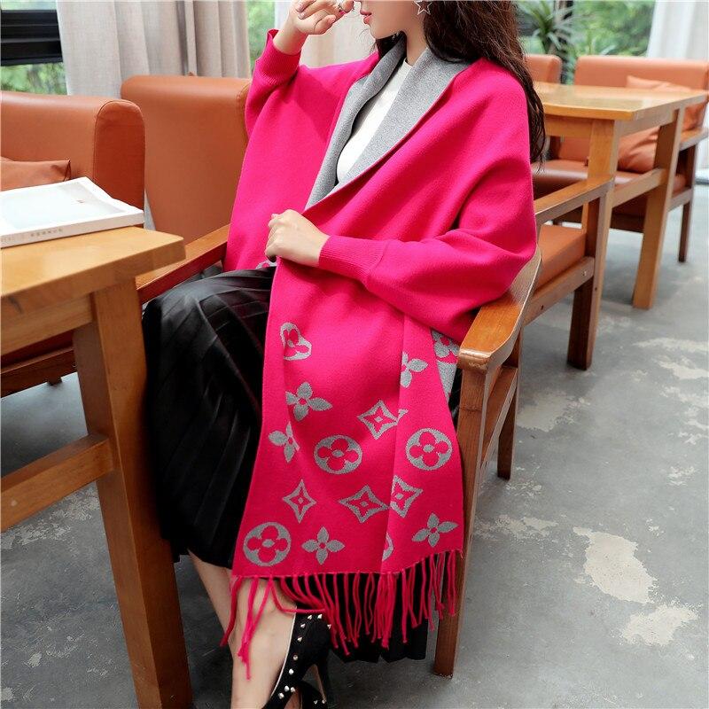 Autumn And Winter New Style Loose-Fit Dolman Sleeve Shawl Women's Clothing Jacket Korean-style V-neck Tassled Jacquard Sweater C