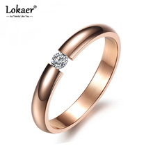 Lokaer Single Crystal Ring For Women Rose Gold/White/Black Color Stainless Steel Wedding Engagement Ring Jewelry Gifts R19101