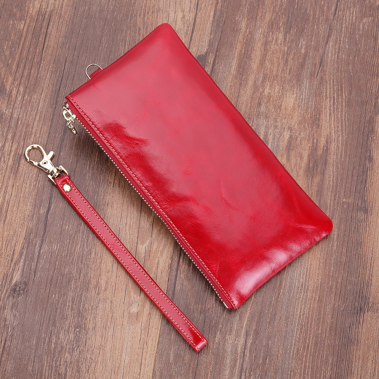 2018 new head oil wax leather wallet ladies thin in hand