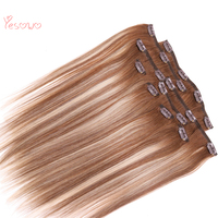 Yesowo 100g 4/27/4# Highlight Blonde Color 9Pcs 14inch 24Inch Peruvian Straight Hair Extension Clip Human Hair