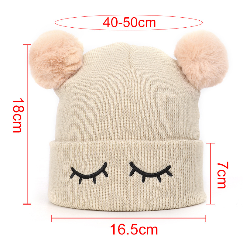 Winter Soft Baby Hat Double Pompom Knitted Cotton Solid Caps For Babies Boys Girls Hats Cute Lovely Beanie Infant Cap Gifts in Hats Caps from Mother Kids
