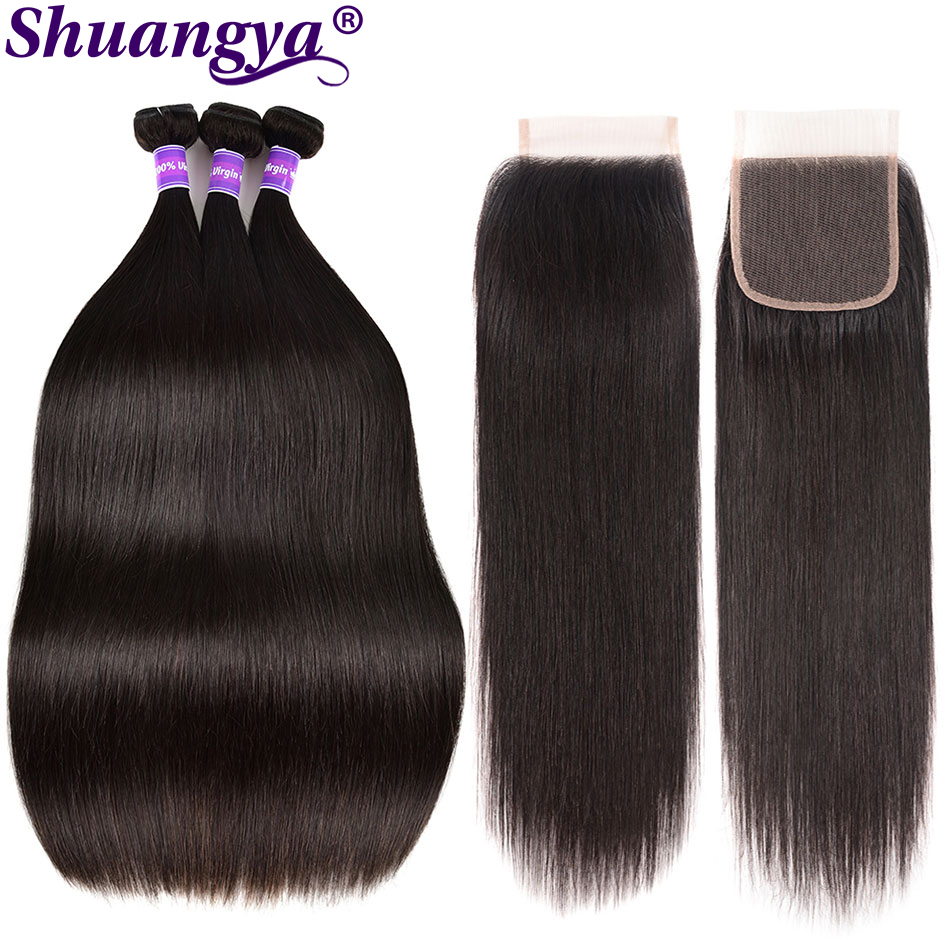 3 Pcs/Lot Peruvian Straight Hair With Closure 100% Human Hair 3 Bundles With Middle/Free Part Closure Alimog Remy Hair Miss Ca