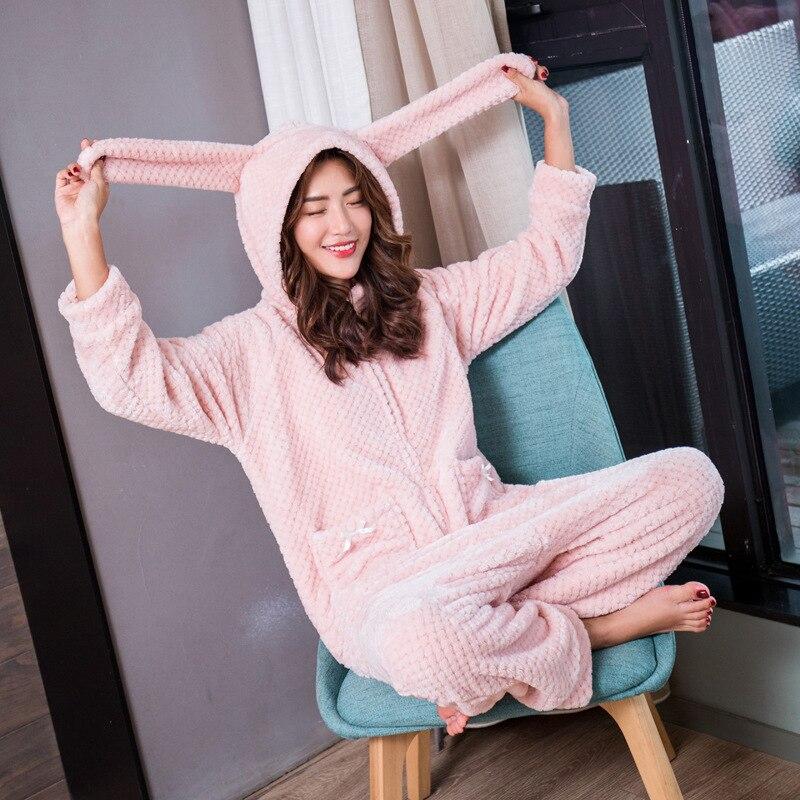 Feier Onesie Cute Student Women Girls Rabbit Ears Hooded Winter Sleepwear Ko-hair One Piece Pajama Flannel HomeWear