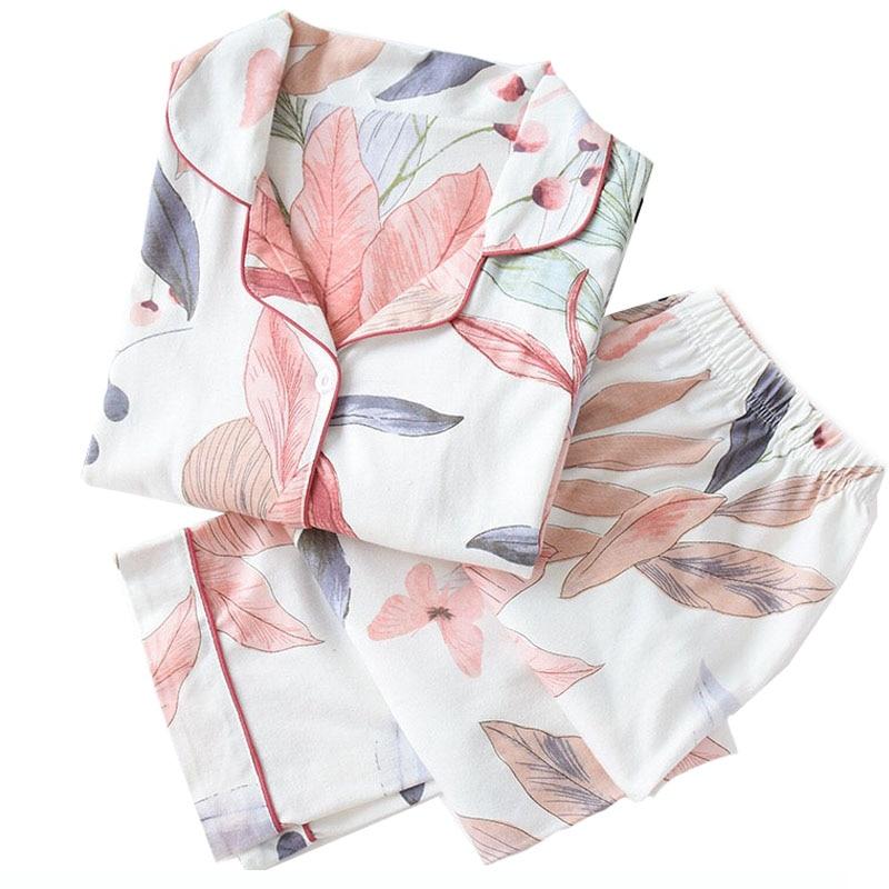 Herbst Neue Damen Pyjamas Set Floral Gedruckt Volle Baumwolle Frische Stil Nachtwäsche Set Frauen Drehen-unten Kragen Weibliche Casual homewear