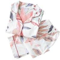 Outono novas senhoras pijamas conjunto floral impresso algodão completo estilo fresco pijamas conjunto feminino turn-down colarinho feminino casual homewear