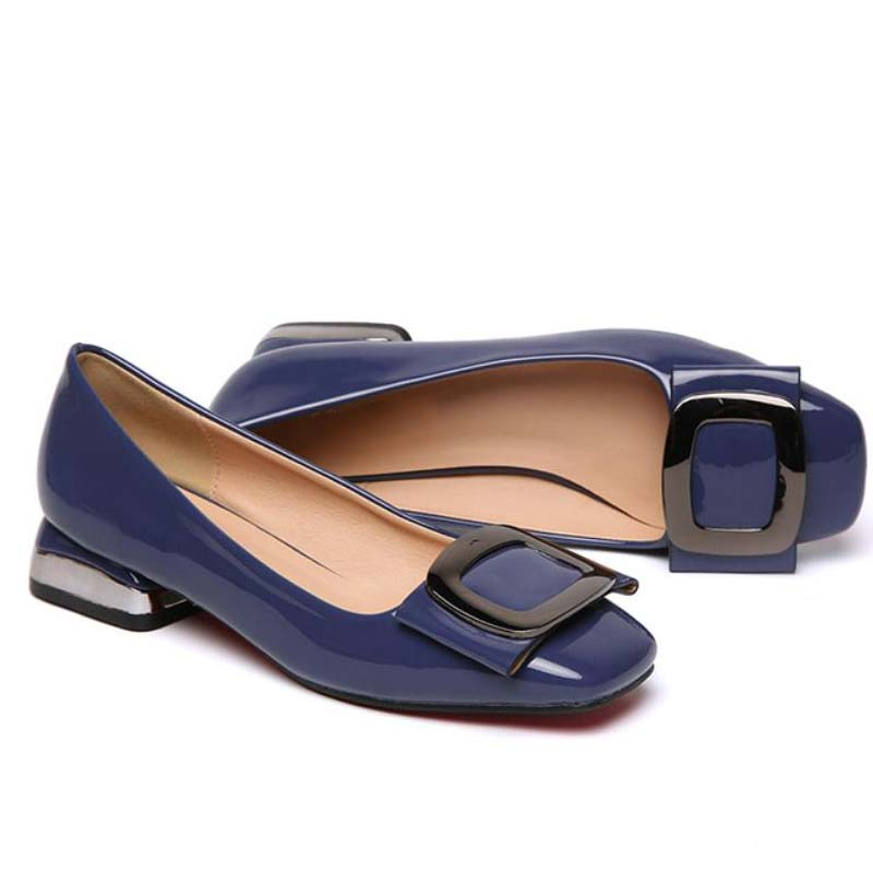 Low-heeled Pumps Women Patent Leather Shoes