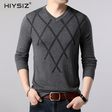 HIYSIZ Sweater Men 2019 Autumn Winter Striped Casual V-Neck Long Sleeves Streetwear Brand Fashion Style Gentlemen Pullover SW036