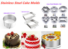 Adjustable Mousse Ring Round/Square Mousse Cake Molds Stainless Steel Baking Moulds Kitchen Dessert Cake Decorating Tools