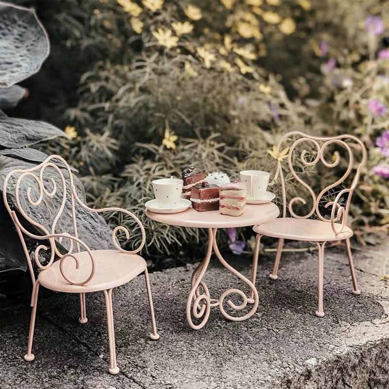 2020 New  Style Metal Coffee Table Doll Bjd Kitchen Table Chair Furniture Children's House Toy Accessories