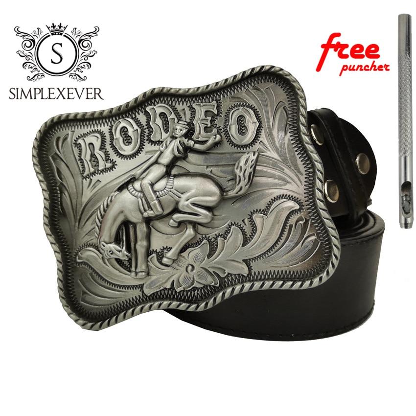 Vintage Men's Belt Buckles Women Western Cowboy Of Rodeo Silver Mens Belt Buckle Head With Leather Belt