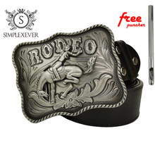 Vintage Men's Belt Buckles Women Western Cowboy of Rodeo Silver Mens Buckle Head with Leather