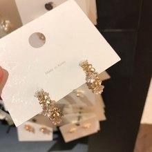 MENGJIQIAO – boucles d'oreilles en métal mat pour femmes, élégantes, faites à la main, mignonnes, en forme de coquille de fleur, à la mode, bijoux