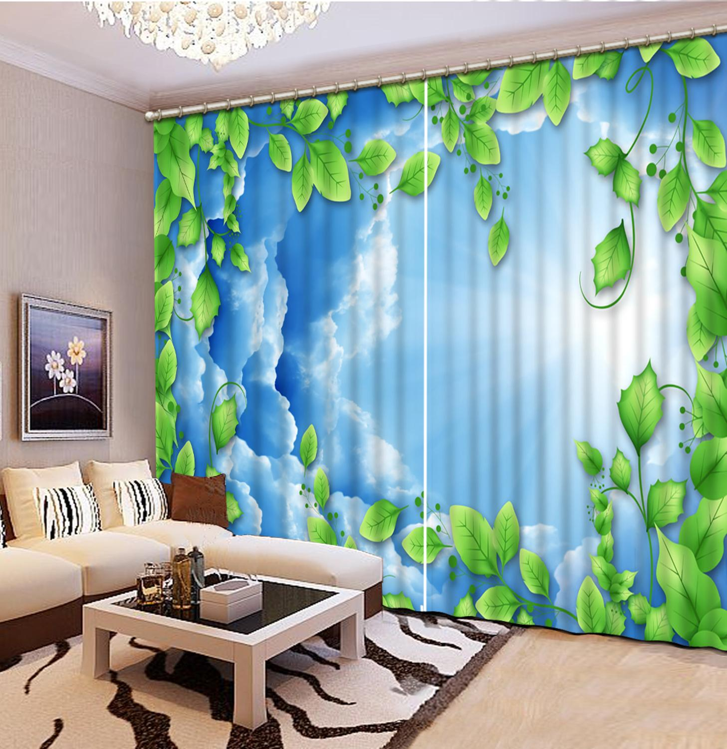 custom blackout curtains stereoscopic White clouds curtains for living room bedroom decoration european curtains