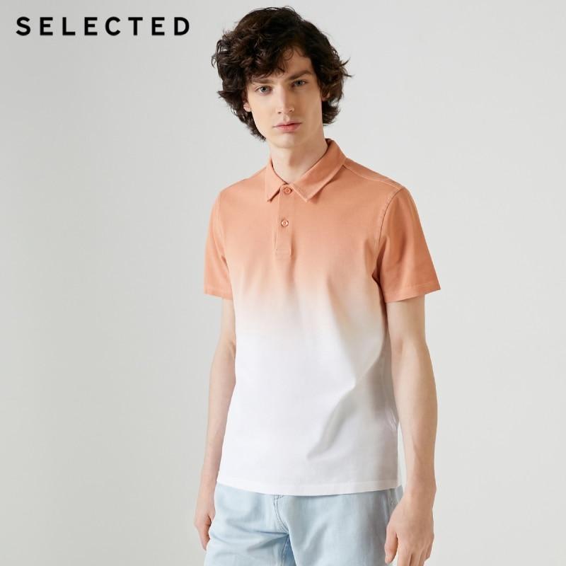 SELECTED Men's Gradient Turn-down Collar Short-sleeved Poloshirt S|419206533