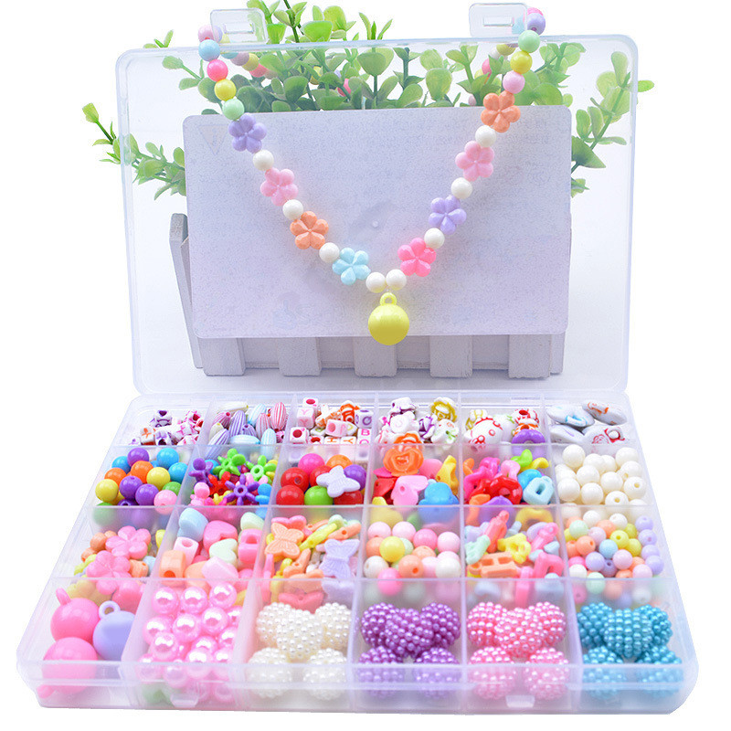 500pcs Children Hands-on String Beads Toy Girl DIY Handmade Puzzle Plastic Wearing Beads Necklace Gifts