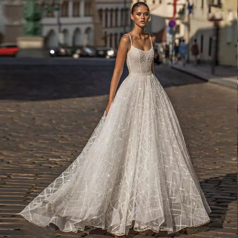 Eightree A Line Evening Dress Sleeveless Shinny Prom Dresses Spaghetti Straps Robe De Soiree Backless Formal Evening Dress