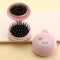 Mini Pocket Mirror Cute Massage Folding Mirror with Comb Portable Pocket Small Travel Girl Hair Brush with Mirror Styling Tools 3