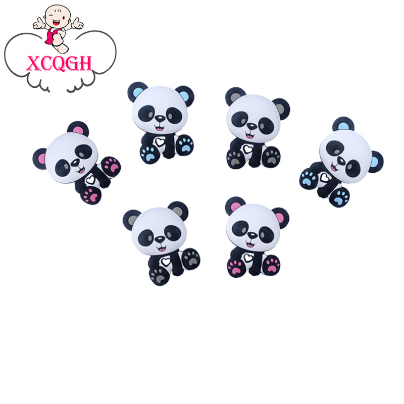 XCQGH 20PCS Baby Silicone Panda Beads Silicone Loose Beads DIY Baby Bracelet Necklace Accessories Beads Teether