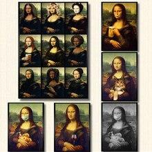 Divertente Mona Lisa Arte della Tela di Canapa Pittura Poster E Stampe di Immagini A Parete Per Soggiorno Camera Da Letto Immagine Decorativa Decorazione Della Parete di Casa