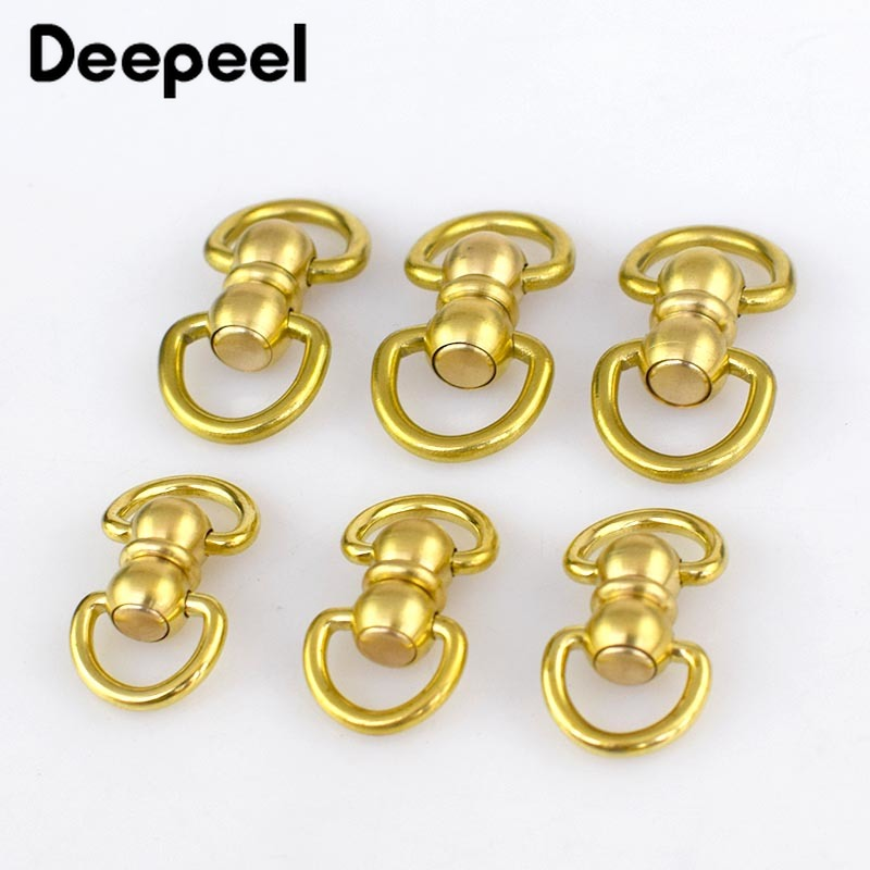 2/5pcs Solid Brass Rotated Double D Swivel Ring Chain Wallet Key Chain Connector Metal Buckle Snap Hook DIY Leather Crafts KY292