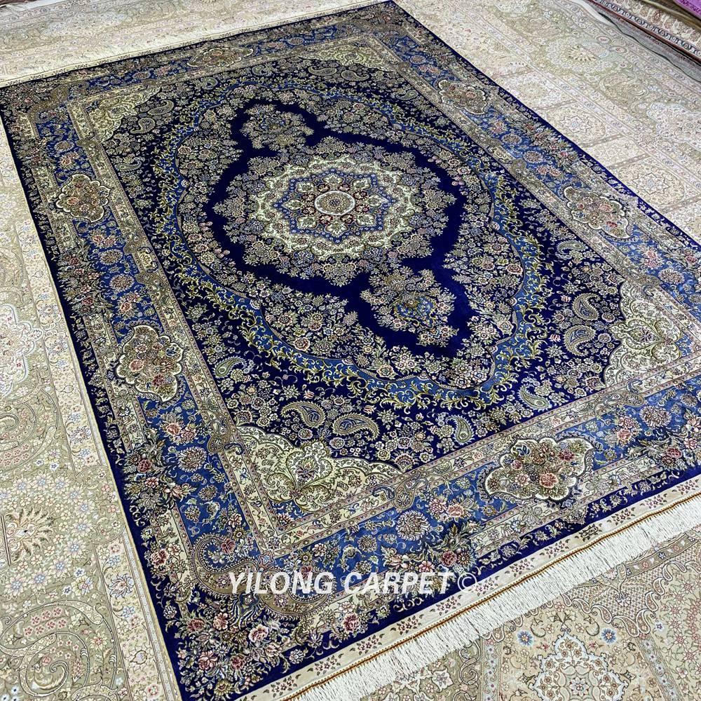 Yilong 6'x9 'Vantage persain alfombra de dormitorio azul oscuro hecha - Textiles para el hogar - foto 3